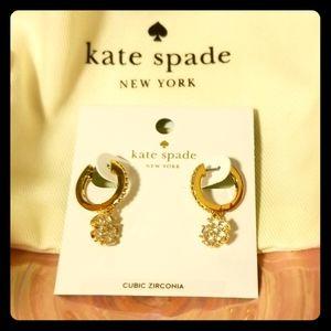 kate spade gold tone cubic zirconia earrings NWT